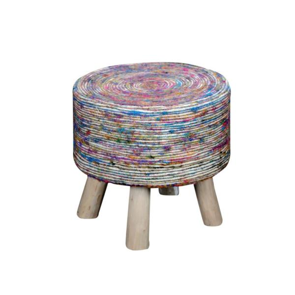 Silk 16 in. White and Multicolored Swirl Stool