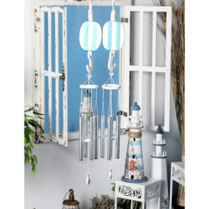 Blue Wood and Aluminum Sailboat and Buoy Wind Chimes with White Accents (Set of 2) by