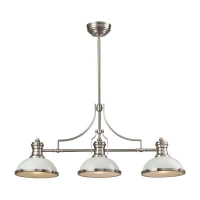 Chadwick 3-Light Satin Nickel With White Metal Shades Island Light