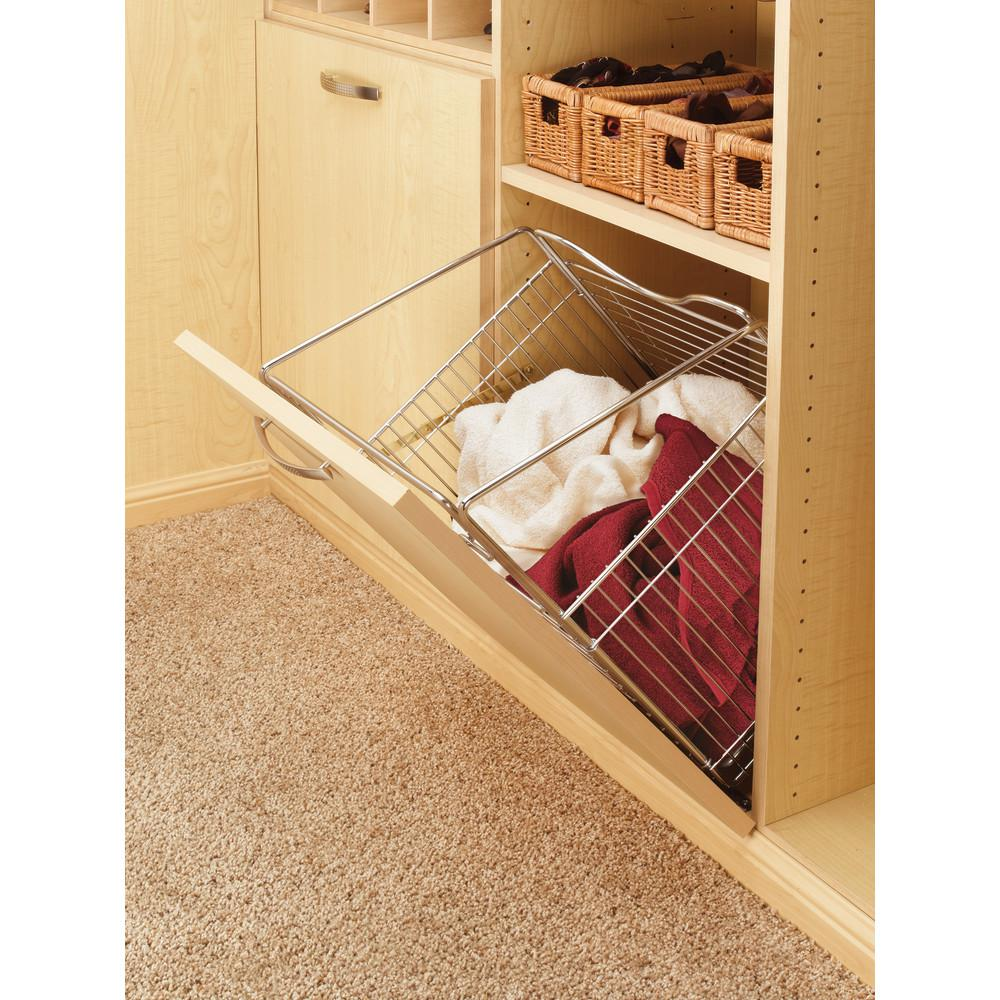 Rev-A-Shelf 15.5 in. x 19.73 in. Chrome Closet Pull-Out Hamper Basket