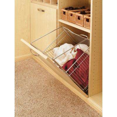 15.5 in. x 19.73 in. Chrome Closet Pull-Out Hamper Basket