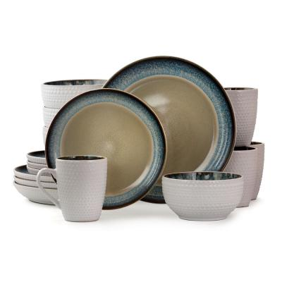 Modern Dot 16-Piece Taupe with Blue Trim Stoneware Dinnerware Set (Service for 4)