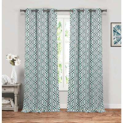 Micah 38 in. W x 84 in. L Polyester Window Panel in Blue
