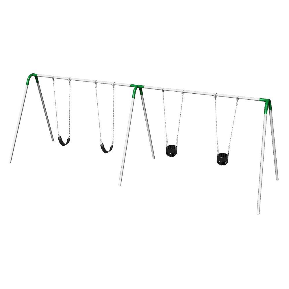 Double Bay Commercial Bipod Swing Set with 2 Tot Seats, 2