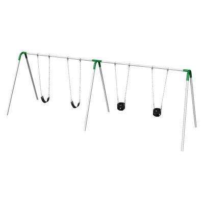 Double Bay Commercial Bipod Swing Set with 2 Tot Seats, 2 Strap Seats and Green Yokes