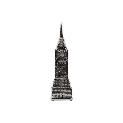 18.75 in. H Tower Decorative Figurine in Gray Polished Chrome Finish