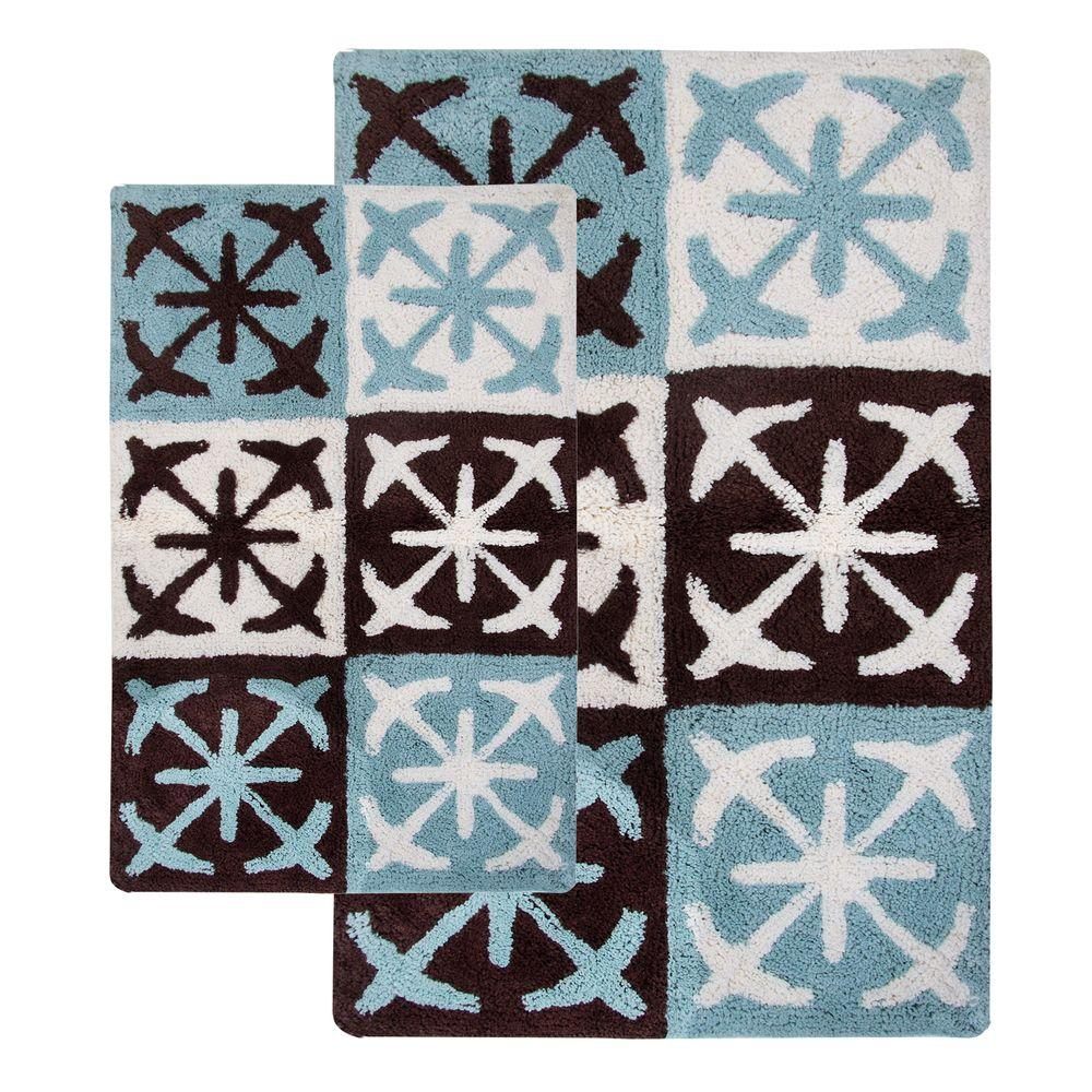 Chesapeake Merchandising Columbia 21 in. x 34 in. and 27 in. x 45 in. 2-Piece Bath Rug Set in Chocolate