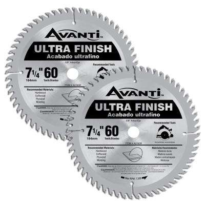 7-1/4 in. x 60-Teeth Fine Saw Blades (2-Pack)