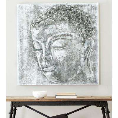 """39.3 in. x 39.3 in. """"Black and White Buddha"""" Wall Art"""