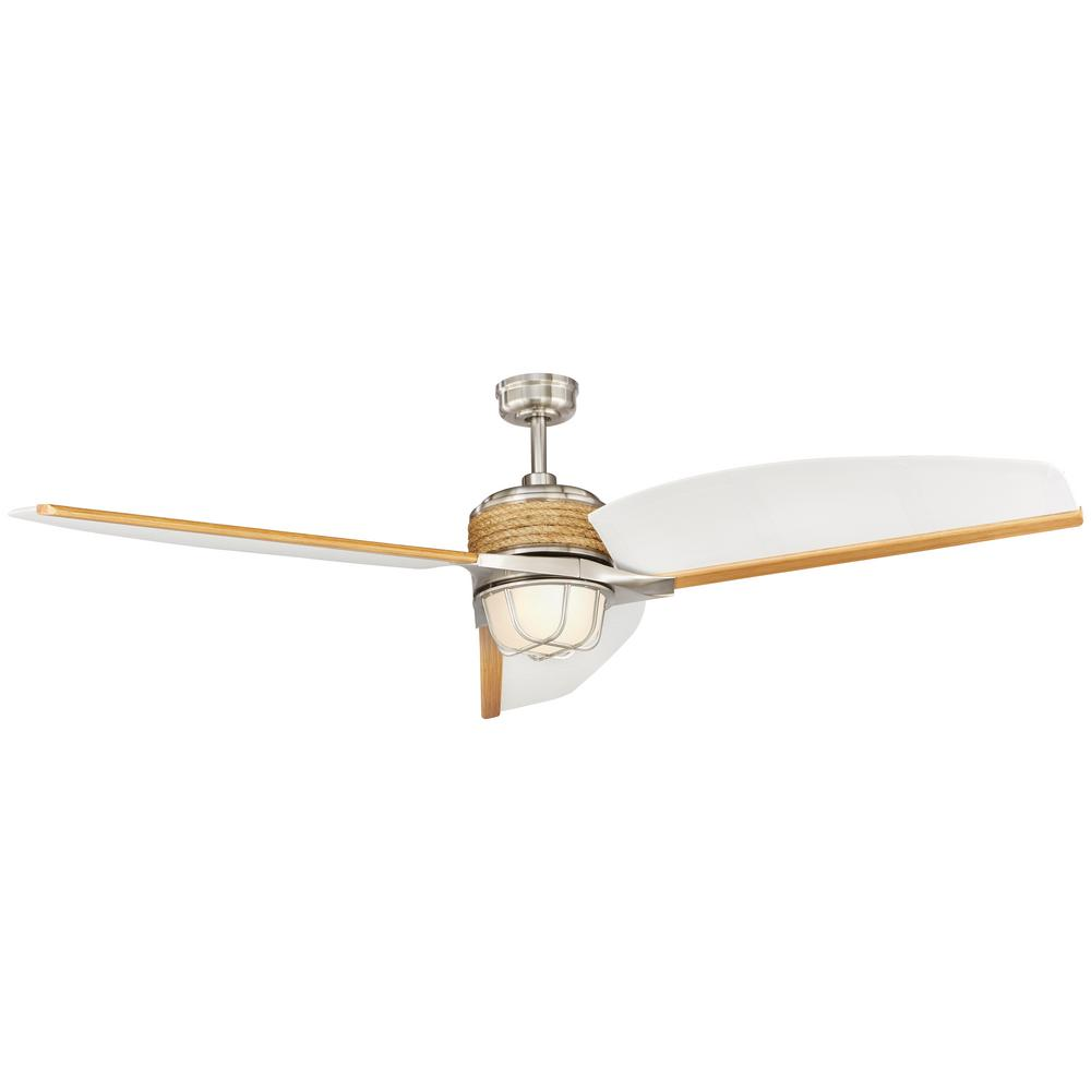 Home Decorators Collection Escape Ii 68 In Led Indoor Outdoor Brushed Nickel Ceiling Fan