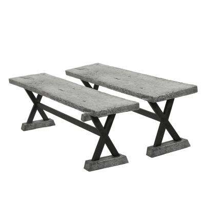 Chalmette Grey Stone Outdoor Bench