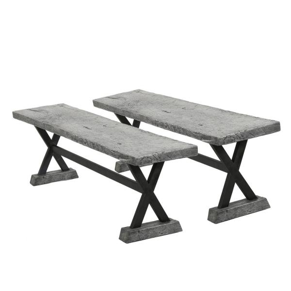 Noble House Chalmette Grey Stone Outdoor Bench 10722 The Home Depot