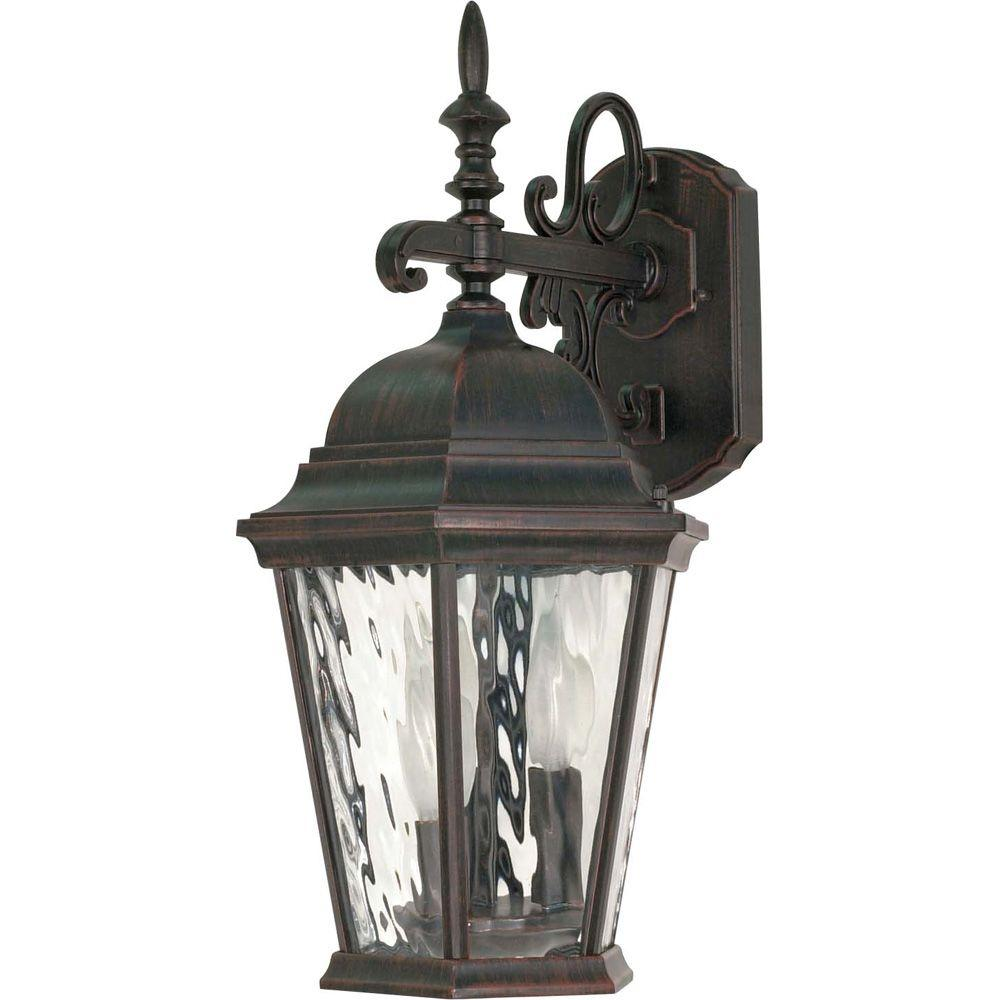 Glomar Fordham - 3-Light - 20 in. - Wall Lantern - Arm Down with Clear Water Glass Old Penny Bronze-DISCONTINUED
