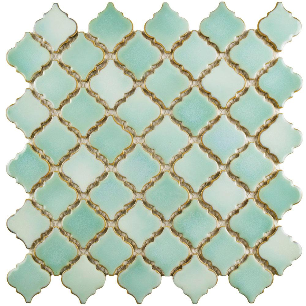Merola Tile Hudson Tangier Mint Green 12-3/8 in. x 12-1/2 in. x 5 mm Porcelain Mosaic Tile