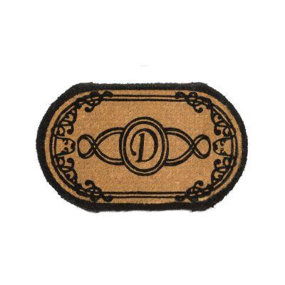 Perfect Home Lexington Brown 72 in. x 36 in. Oval Monogram D Door Mat-DISCONTINUED