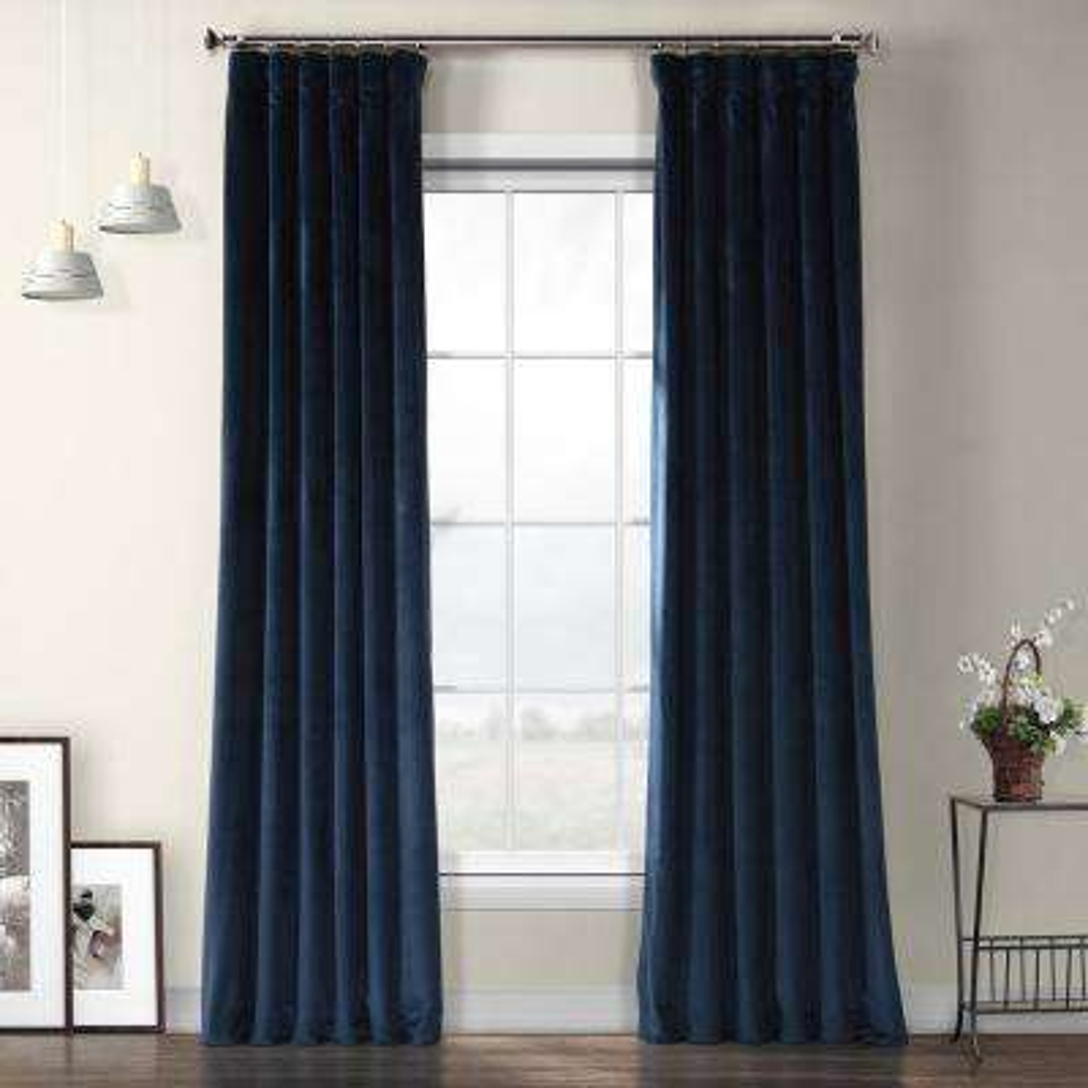 Eternal Blue Heritage Plush Velvet Curtain - 50 in. W x 108 in. L