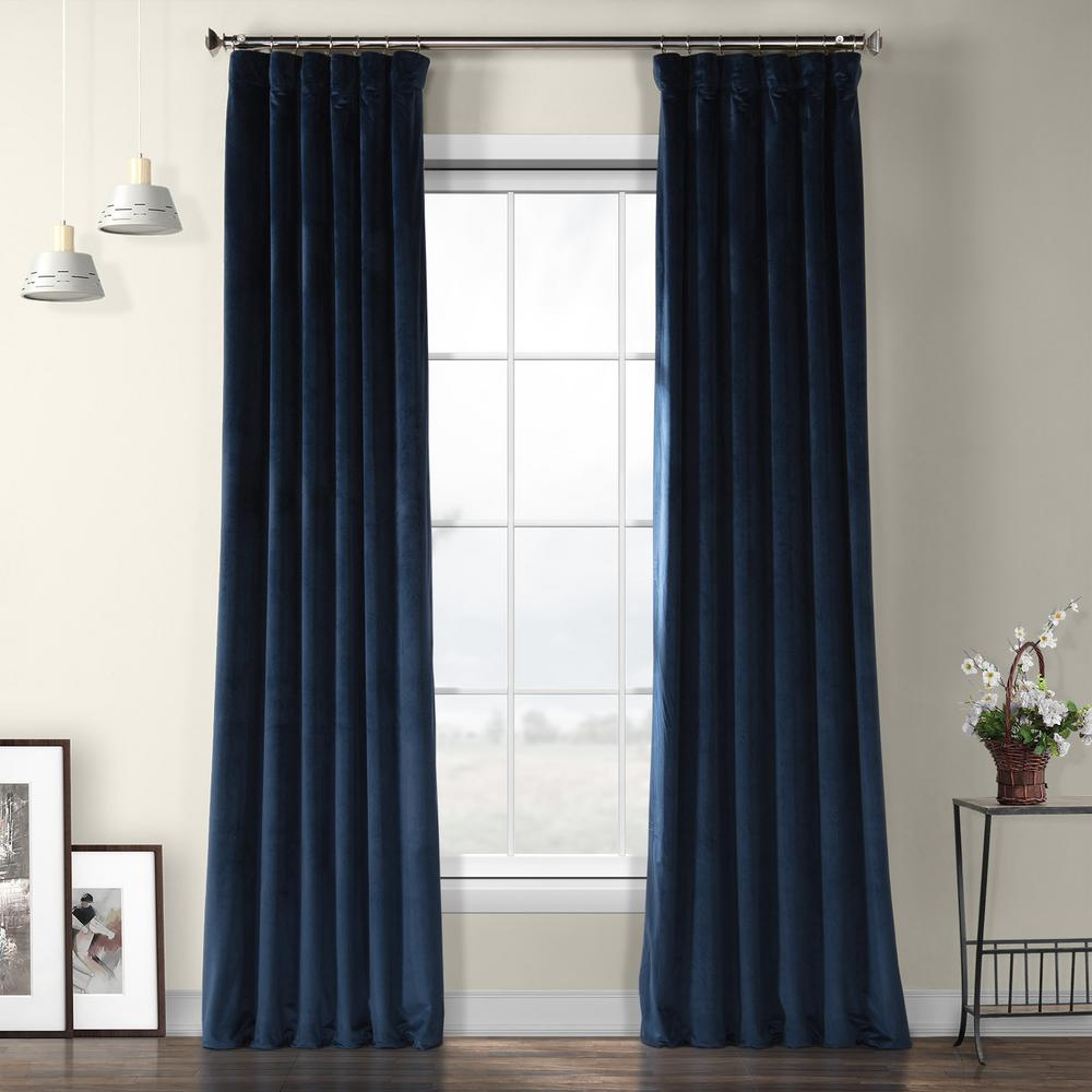 Exclusive Fabrics & Furnishings Eternal Blue Heritage Plush Velvet Curtain - 50 in. W x 96 in. L