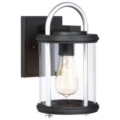 Keyser 1-Light Black with Silver Accent Outdoor Wall Mount Lantern with Clear Glass