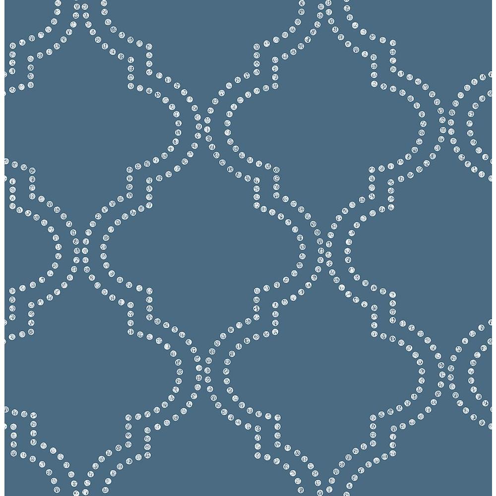A-Street Tetra Blue Quatrefoil Wallpaper Sample 2625-21803SAM