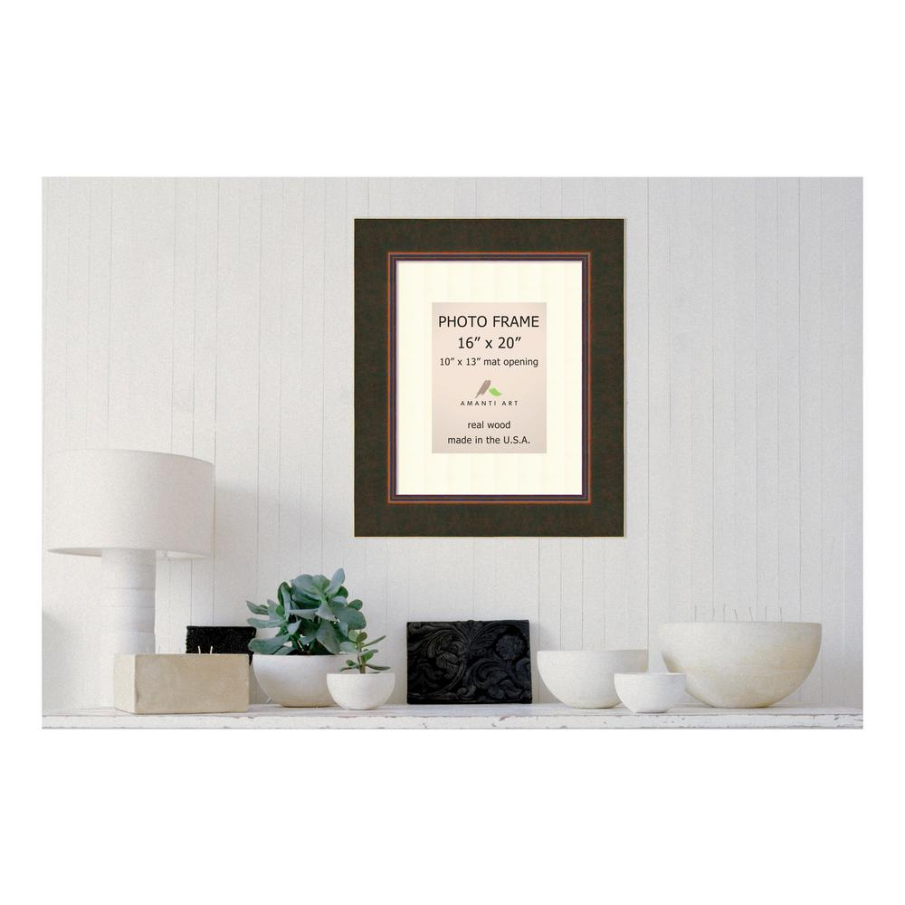 Amanti Art Milano 10 In X 13 In White Matted Bronze Picture Frame