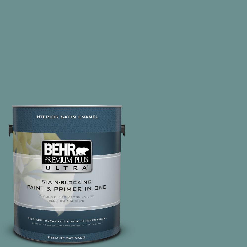 BEHR Premium Plus Ultra 1-gal. #500F-6 Hallowed Hush Satin Enamel Interior Paint