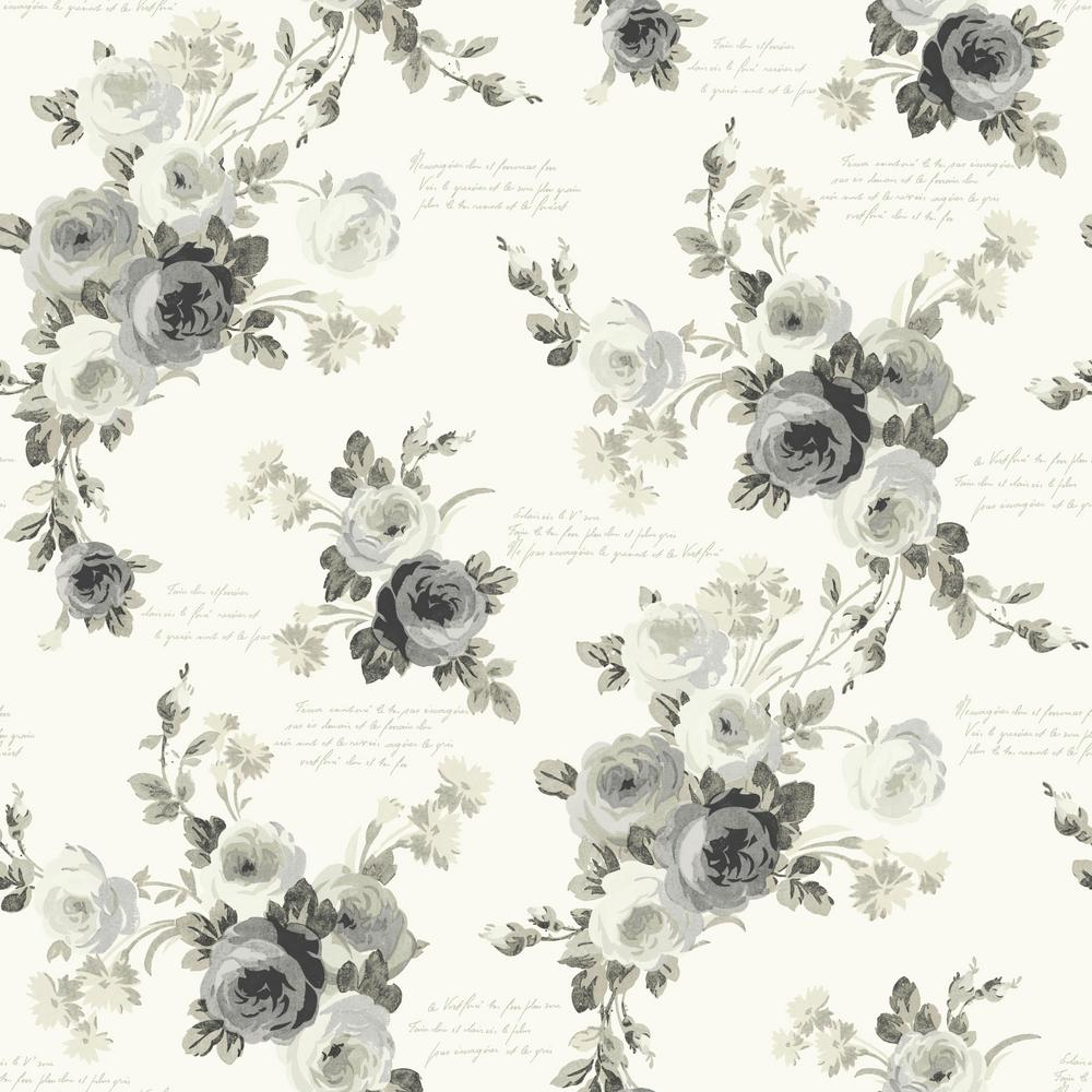 MagnoliaHomebyJoannaGaines Magnolia Home by Joanna Gaines 56 sq. ft. Magnolia Home Heirloom Rose Removable Wallpaper, Gray/White