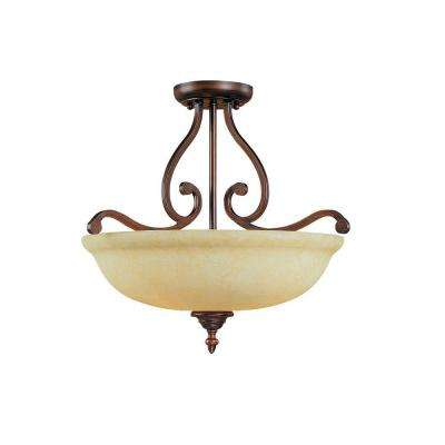 3-Light Rubbed Bronze Semi Flush with Turinian Scavo Glass