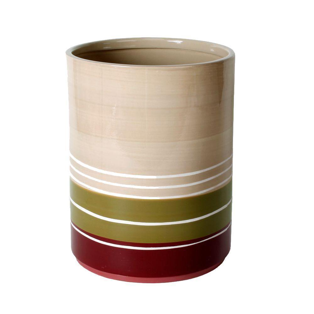 Madison Stripe Ceramic Wastebasket in Red