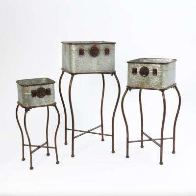 Metal Antique Planter Set with 3 Sizes (3-Pack)