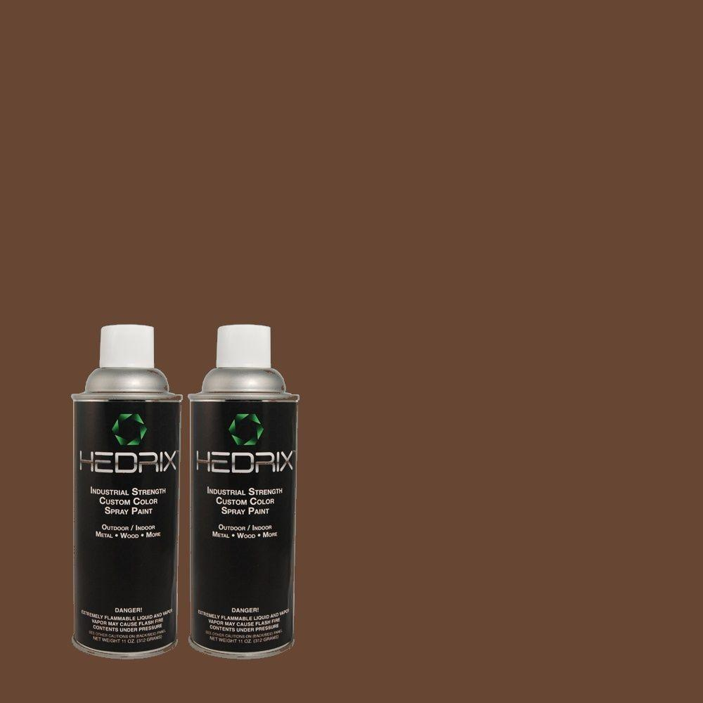 Hedrix 11 oz. Match of 780B-7 Bison Brown Gloss Custom Spray Paint (2-Pack)