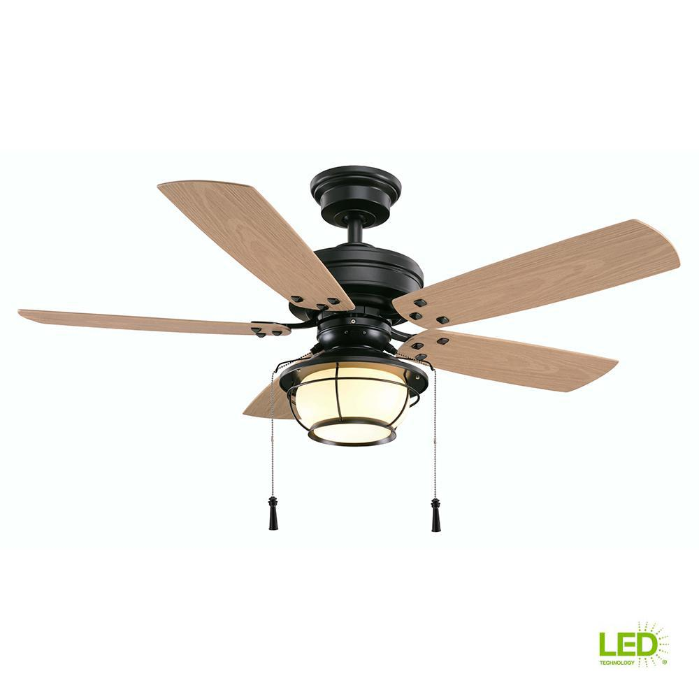 570a380acc6 Hampton Bay North Shoreline 46 in. LED Indoor Outdoor Natural Iron Ceiling  Fan with