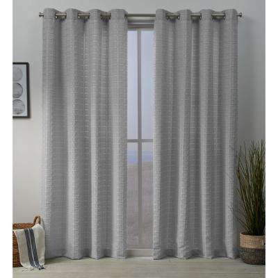 Squared 54 in. W x 108 in. L Embellished Grommet Top Curtain Panel in Silver (2 Panels)