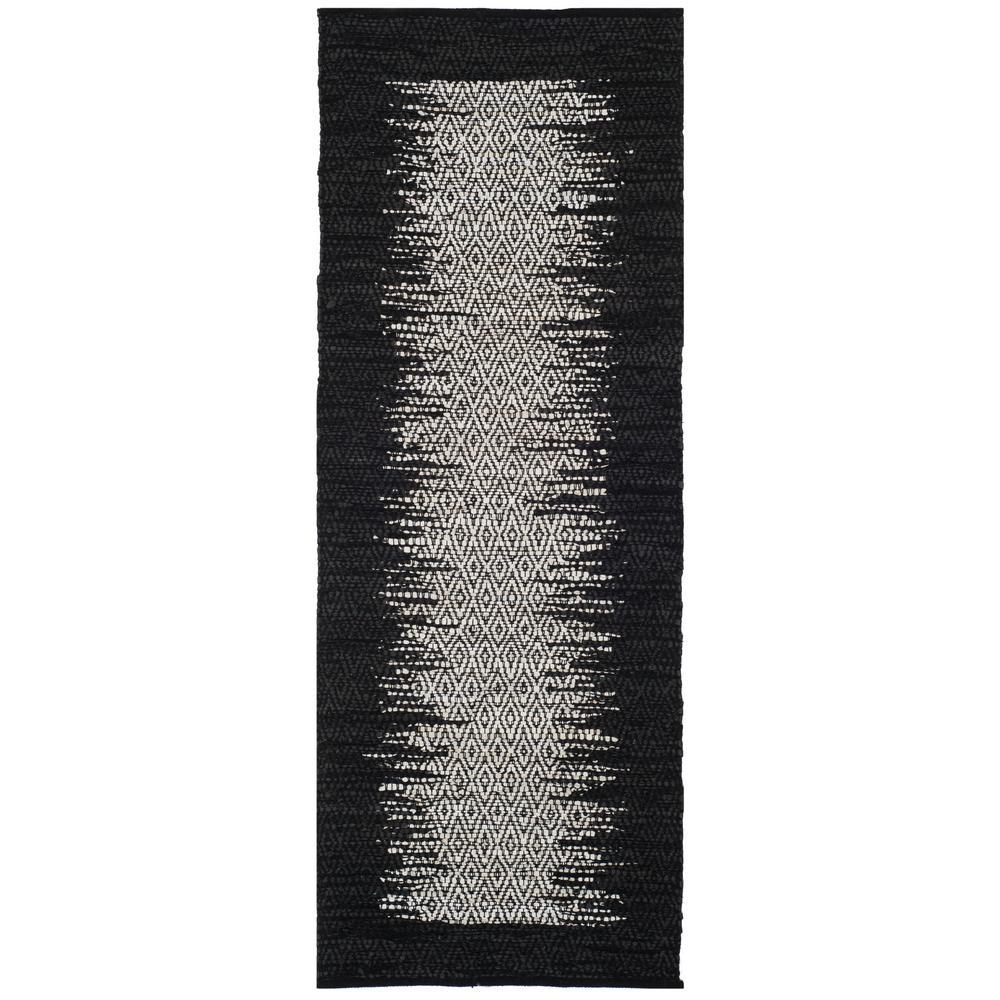 Vintage Leather Light Gray/Black 2 ft. 3 in. x 6 ft. Runner