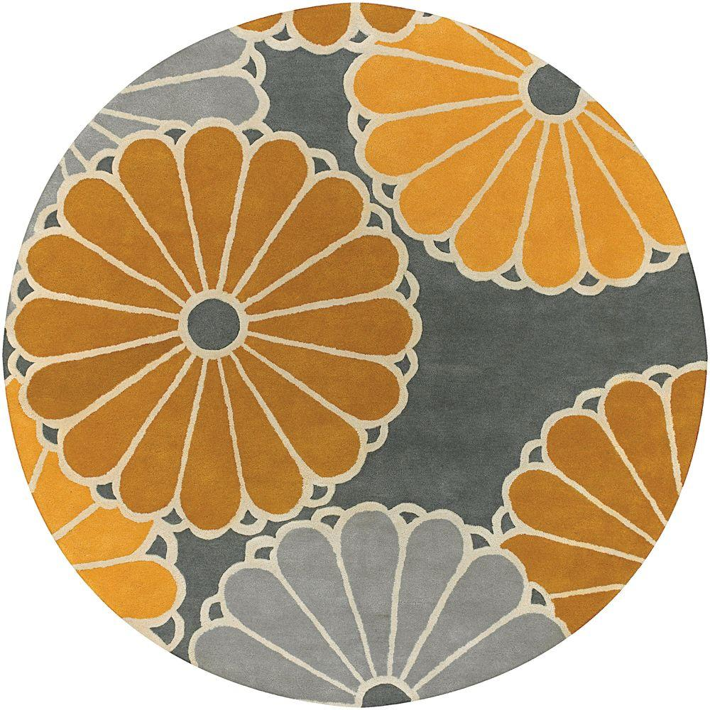 Chandra Thomaspaul Grey/Brown/Yellow/Cream 7 ft. 9 in. Indoor Round Area Rug
