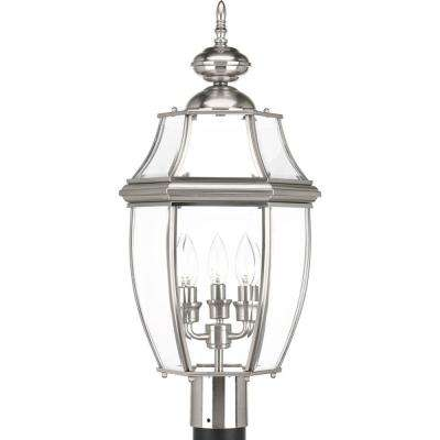 New Haven Collection 3-Light Outdoor Brushed Nickel Post Lantern