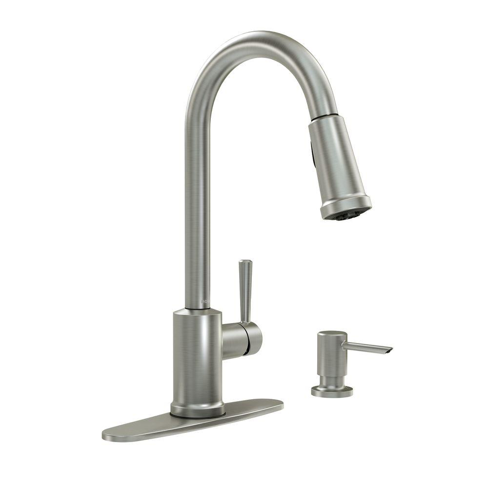 MOEN Indi Single-Handle Pull-Down Sprayer Kitchen Faucet with ...