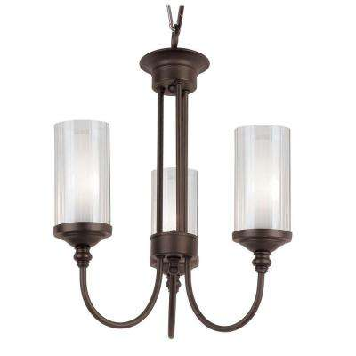 Stewart 3-Light Rubbed Oil Bronze Chandelier with Semi-Frost Glass Shades