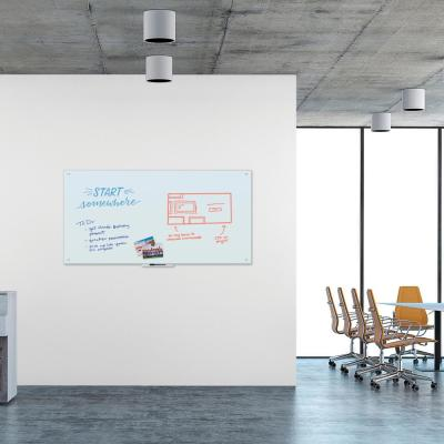 70 in. x 35 in. White Frosted Surface, Frameless Magnetic Glass Dry Erase Board for High Energy Magnets