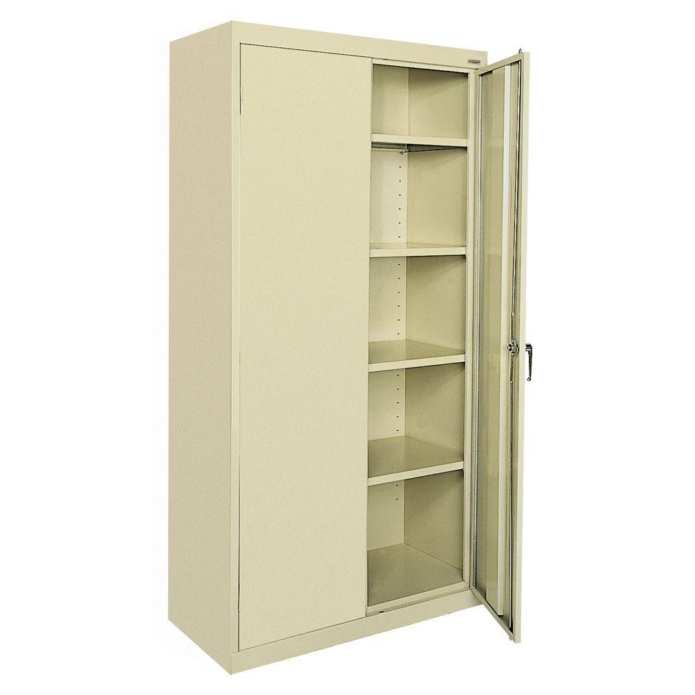 Sandusky Clic Series 72 In H X 36 W 18 D Steel Frestanding Storage Cabinet With Adjule Shelves Dove Gray Ca41361872 05 The Home Depot