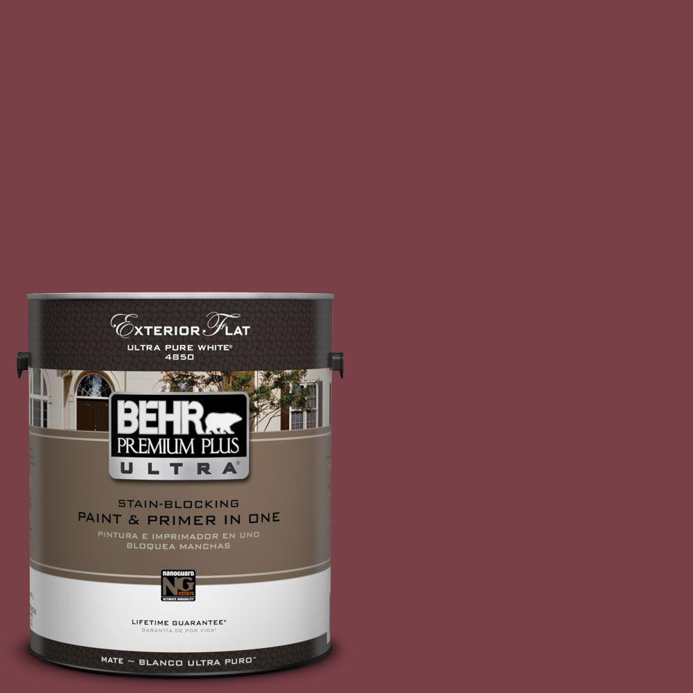 BEHR Premium Plus Ultra 1-Gal. #UL100-8 Spiced Wine Flat Exterior Paint-DISCONTINUED