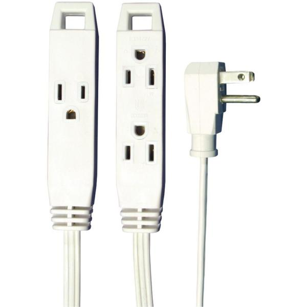 8 ft. 3-Outlet, 16-Wire Gauge, 3-Conductors Wall-Hugger Indoor Grounded Extension Cord, White (24-Pack)