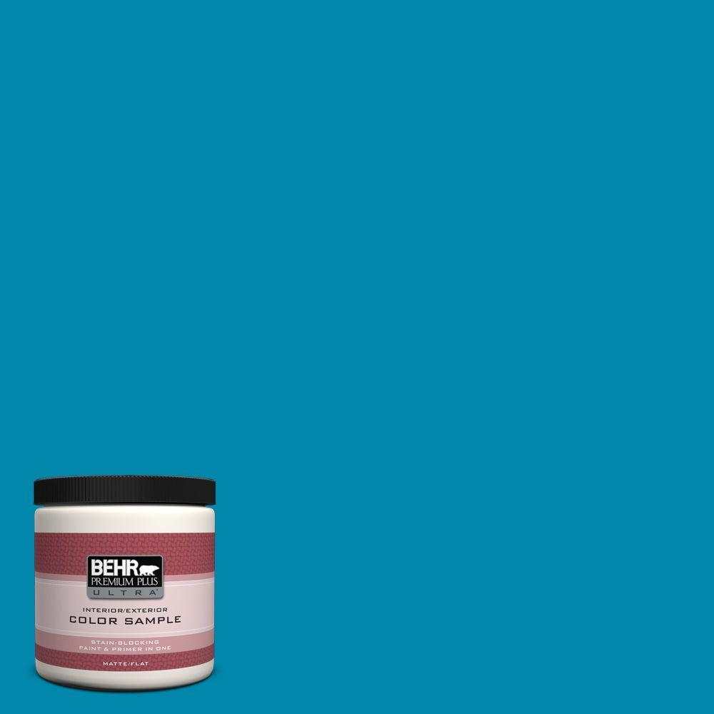BEHR Premium Plus Ultra 8 oz. #P490-6 Hacienda Blue Interior/Exterior Paint Sample