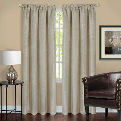 Harmony Tan Polyester Rod Pocket Blackout Panel - 52 in. W x 63 in. L