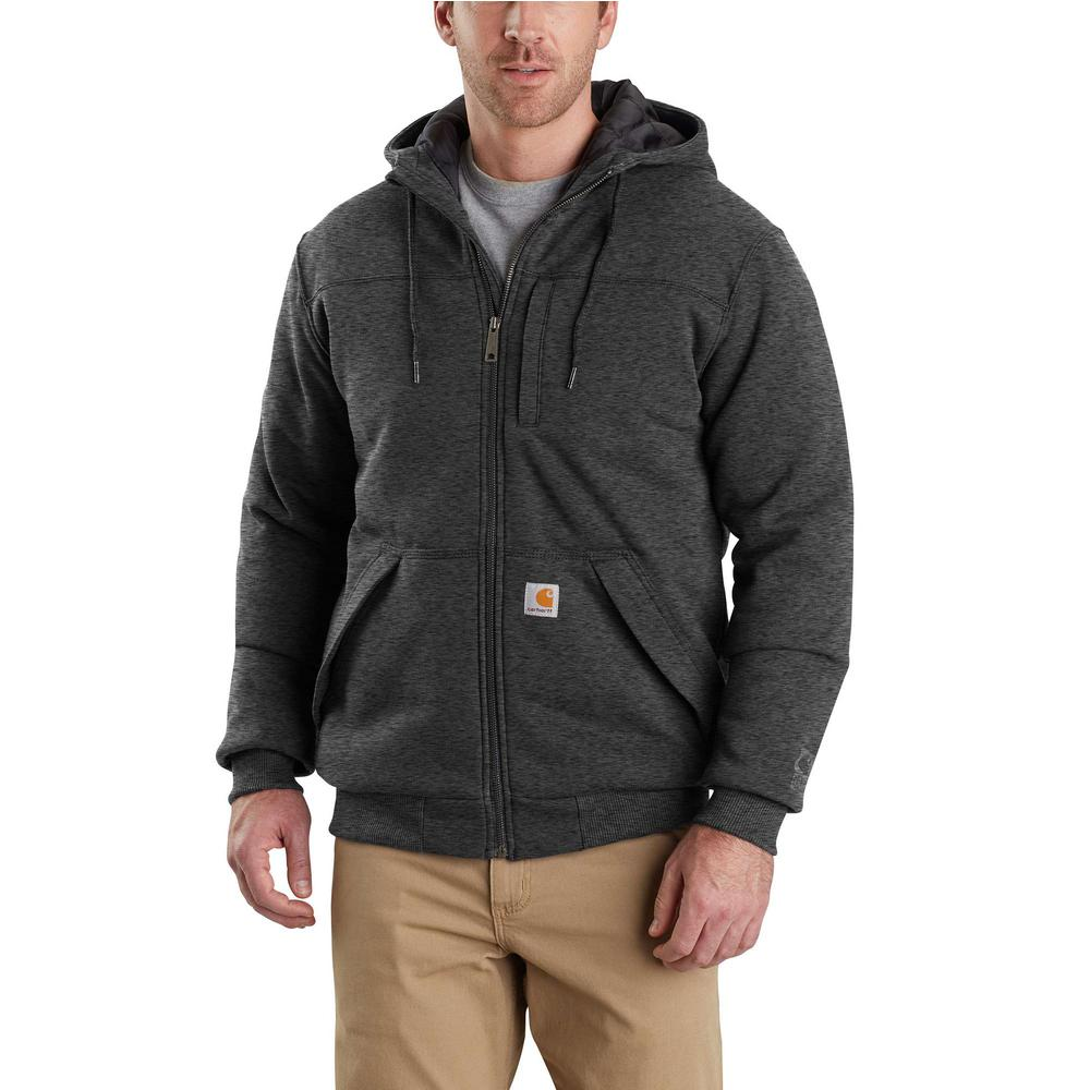 Carhartt Men's Large Carbon Heather Cotton/Polyester Rain Defender Rockland Quilt-Lined Full-Zip Hooded Sweatshirt