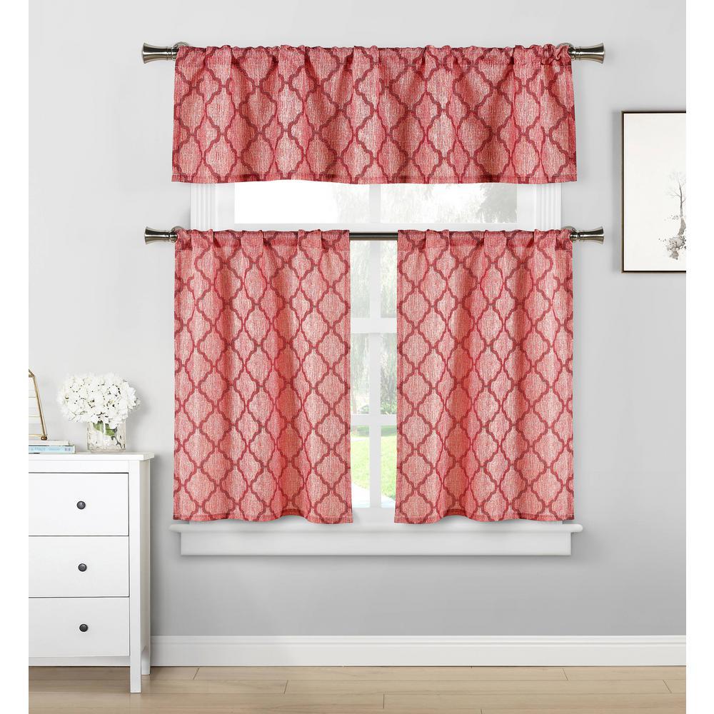 Luke Garnet Kitchen Curtain Set - 58 in. W x 15 in. L in (3-Piece)
