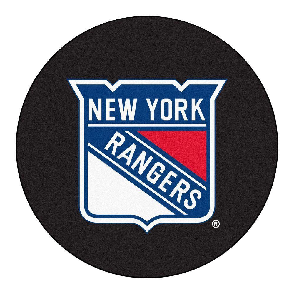 New York Rangers Black 2 ft. x 2 ft. Round Area Rug