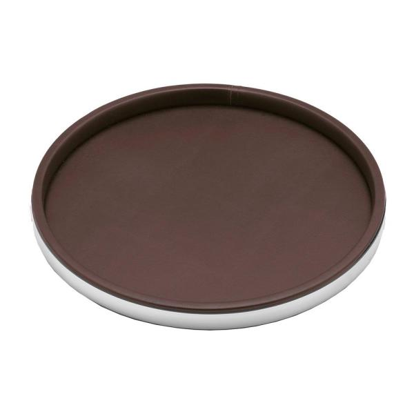 Sophisticates 14 in. Brown Vinyl and Polished Chrome Round Serving Tray (Case of 12)