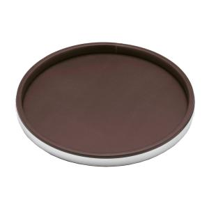 Kraftware Sophisticates 14 inch Round Serving Tray in Brown and Polished Chrome by Kraftware