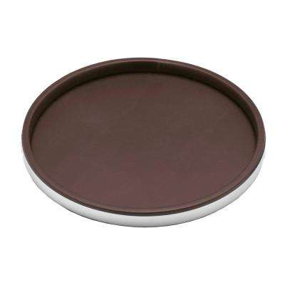 Sophisticates 14 in. Round Serving Tray in Brown and Polished Chrome