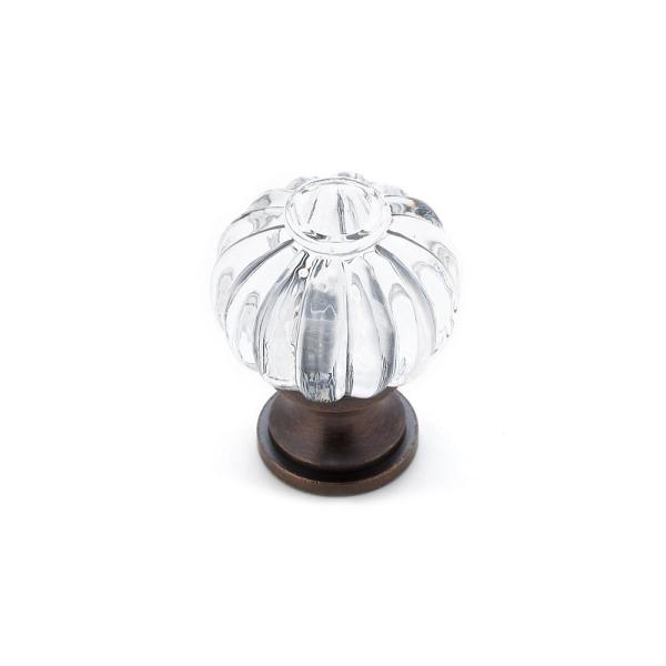 1-1/8 in. (28 mm) Clear, Brushed Oil-Rubbed Bronze Eclectic Brass, Acrylic Cabinet Knob